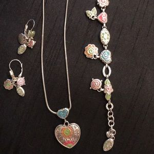 Brighton jewelry set - neck,ear, and bracelet